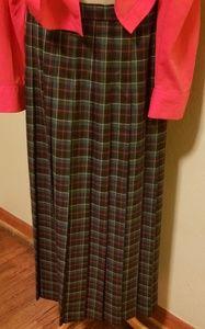 Vntg Susan Bristol long pleated plaid skirt. Sz 14